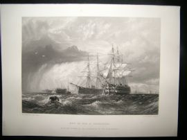 After Dawson 1871 Antique Print, Men of War at Sheerness, Ships, Art Journal